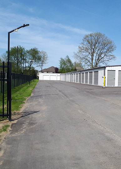 Gated open self storage unit